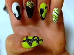 White, Black and Lime Green Drip Mix Nails