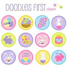 This clip art set includes the 12 x Round Printable Circles Happy Easter as shown in the photo. Each clipart illustration is included separately as a high resolution PNG file with a transparent background, a JPG with a white background and as an SVG file. Each object is provided at a