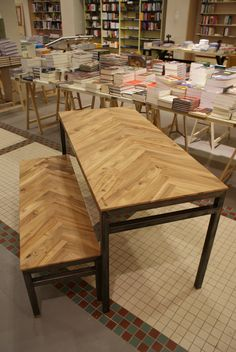 "Table & Bench: Local elm (Amsterdam) & steel. ""Fishbone"" pattern. Design & execution by [s]GAAF."