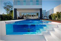 Transparent glass swimming poool