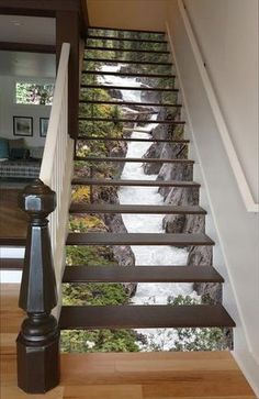 Maligne River Stair 66 Risers Staircase Stairway Stairs Risers Stickers Mural Photo Mural Vinyl Decal Wallpaper Removable - coole Wohnideen - Pictures on Wall ideas Interior Exterior, Interior Design, Interior Decorating, Decorating Stairs, Decorating Ideas, Interior Stairs, Luxury Interior, Decoration Photo, Stair Risers