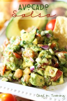 Avocado Salsa ~~~~This salsa is SO easy to whip up and tastes absolutely AMAZING! It is great with chips dipped in it or topped on your favorite Mexican dish.. or basically anything else you would want to put it on! It is my absolute favorite Mexican food topping