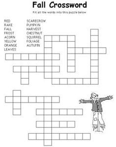 Free Kids Printable Activities: Hard Fall Crossword – Coloring Pages & Word Puzzles - Kaboose.com