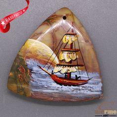 Cool Pendant Hand Painted Sailboat Natural Gemstone   ZL805524 #ZL #Pendant