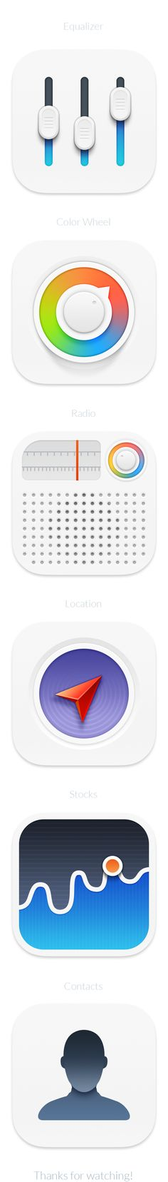 iOS 7 Minimanimal icons replacement by Jackie Tran Anh, via Behance
