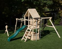 Cedar swing set with wooden roof and monkey bars.