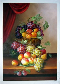 "24"" by 36"" - Still life - Nr.14 - Fruit - Museum Quality Oil Painting on Canvas Art by Artseasy"