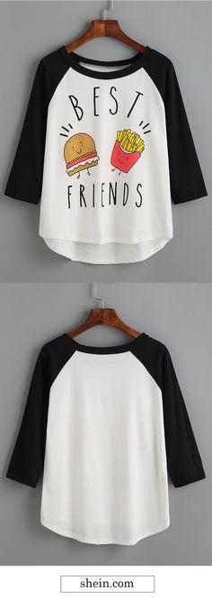 White print raglan shirt.