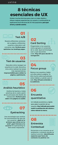 8 técnicas esenciales de UX (experiencia de usuario) #infografia #infographic #marketing