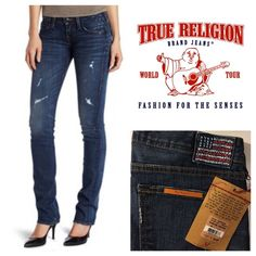 Distressed True Religion Jeans 94% Cotton/5% Polyester/1% Spandex Machine Wash.  Shiny black tack buttons/shiny black rivets/copper flat nail rivet, Embroidered American Flag on the back pocket and Stretch. A name you can trust in sexy fashion for gift giving or for keeps! True Religion Jeans Straight Leg
