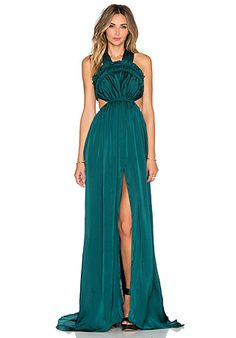Needle & Thread Gloss V Back Silk Gown in Green | REVOLVE