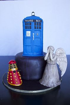 Sara Elizabeth Cakes & Sweets: Dr. Who Cake. Tardis, Dalek, Weeping Angel. All figures made from Rice Krispy Treats and fondant.