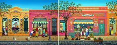 Abasto Neighborhood (diptych) by Laura Vidra - GINA Gallery of International Naive Art