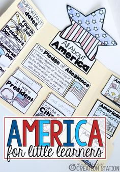 America for Little Learners Mrs.Jone's Creation Station Teaching about United States of America to Little Learners (Lapbook)Mrs.Jone's Creation Station Teaching about United States of America to Little Learners (Lapbook) Social Studies Activities, Teaching Social Studies, Classroom Activities, Preschool Activities, Teaching Kids, American Symbols, Little Learners, Stage, In Kindergarten