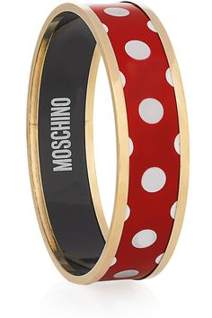 Polka-dot gold-tone bangle by Moschino Moschino, Red Dots, Polka Dots, Ruby Bracelet, Bangle Bracelet, Dots Fashion, Connect The Dots, Looks Chic, Clothes For Sale