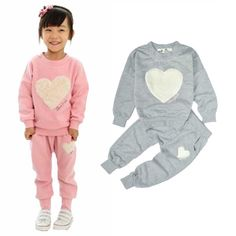 Baby Girls Clothing Sets Kids Long Sleeve Tops T-shirts + Pants Heart Outffits Homewear Clothes Set Freeshipping #Affiliate