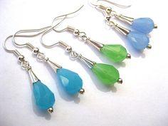 Jade Teardrop Earrings Choose Your Color by SunshineDaydreamz
