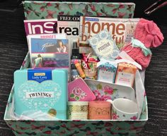 Get Well Soon Hamper - A bit different from just having chocolates and a card. Put in what you feel like doing when unwell. We have included; fluffy socks, tea,  magazines, girly movies and inspirational quotes. This could brighten anyones day.