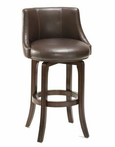 """Napa Valley Brown 25"""" High Swivel Counter Stool by Hillsdale. $279.00. A sophisticated swivel counter stool with a padded back and seat for maximum comfort. The leather-like brown vinyl upholstery complements the dark brown cherry finish wood frame and creates an elegant palette of brown. Perfect for kitchen counter or bar use."""