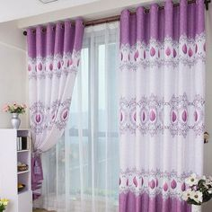 Merveilleux 15 Beautiful Bedroom Designs With Purple Curtain : Amusing Purple White  Bedroom Curtain With White Sheer Curtain And White Wood Shelves In  Attractive White ...