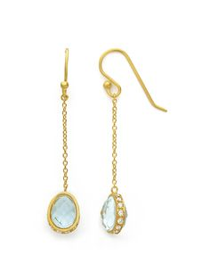 Sara Weinstock - 18k Blue Topaz Pave Diamond Frame Linear Drop Earrings - at - London Jewelers