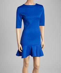 Another great find on #zulily! Blue Texture Drop-Waist Dress by  #zulilyfinds