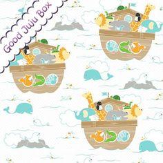 Kinderstoffe - Little Ark - Riley Blake - Archen - Weiß - ein Designerstück von Good-Juju-Box bei DaWanda