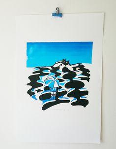 Bamburgh Castle Beach Landscape, , Seaside Coast , Little Blue Girl, Original Artwork, Blue, Black on White, Statement Art Print, by littlebluegirlco on Etsy