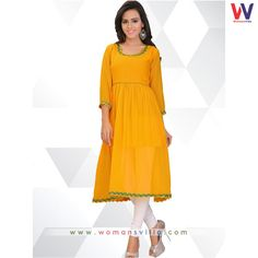 Standard Yellow Colored Georgette Casual Kurti#Womansvilla