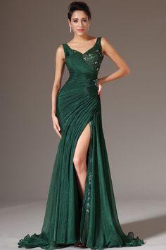 Hunter Floor-Length V-Neck Mermaid Tulle Sleeveless Dress DWD1947 -