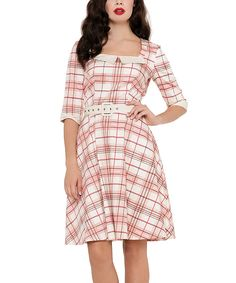 Pink & White Plaid Fit & Flare Dress