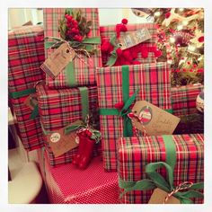 tartan plaid giftwrap ... I did this one year and the tree was beautiful for pictures