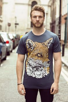 Fox t shirt graphic tee illustrated t-shirt mens t by MiaTheHawk
