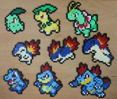 Pokemon Bead Sprite - Generation Two Starter Set Hama Perler Pokemon Gifts, Pokemon Craft, Perler Bead Designs, Pixel Art, Hama Beads Pokemon, Pixel Pattern, Melting Beads, Perler Bead Art, Perler Patterns