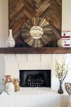 Reclaimed Wood Fireplace 96