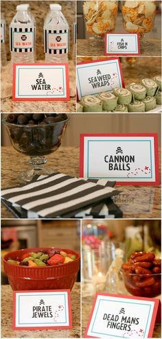 """Food to serve at a Pirate Birthday Party - I can't support the """"dead man's fingers,"""" but the others are really cute :-)"""
