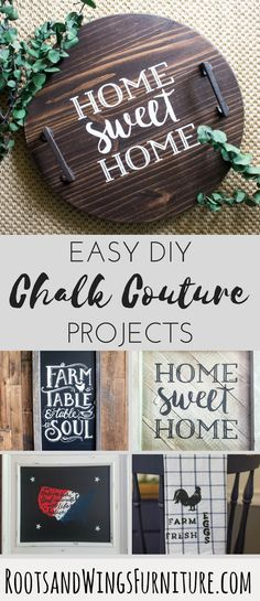 Chalk Couture products make DIY home decor so easy! Learn all of the basics a… Chalk Couture products make DIY Diy Design, Chalk Design, Diy Craft Projects, Diy Crafts, Wood Projects, Furniture Projects, Decor Crafts, Home Decor Accessories, Decorative Accessories