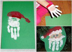 peinture de Noel avec les mains motif pere Noel empreintes main enfant #Noël #christmascards #diy