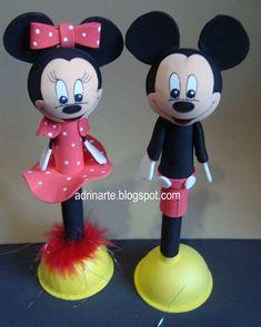 ADRINARTE: Minie e Mickey caneta 3D - EVA