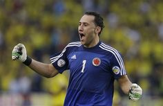 David Ospina - Colombia entertained everyone with their attacking style of football, but on the rare occasion when the defence fell to sleep, Ospina proved to be a solid keeper. David Ospina's standout performance was against Uruguay in the second half where he made 4 crucial stops, including an excellent save to deny Maxi Pereria. In the end it took a scrappy goal and a world class free kick to beat the Colombian shot stopper. World Cup 2014, Fifa World Cup, Arsenal, Colombia Soccer, Free Kick, World Class, Super Excited, Two By Two, Kicks