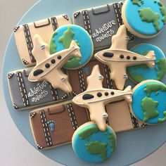 Travel Cookies, Plane Cookies, Retirement Cookies, Borthday Cookies, Treat Bags, Party Favors, Earth Day Cookies, Around the World
