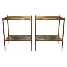 """Pair of Mid Century French end tables with mirrored & gallery top with acorn finials. Oxidation of mirrored glass appropriate for age. H=24"""" W=20"""" D=15"""""""
