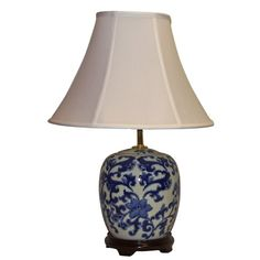 Bold blue and white decorative floral swirl table lamp with bright white double lined shantung silk bell shade. Heavy duty brass hardware, fittings and harp. Nightstand Lamp, Table Lamp, Blue And White, Shades, Lighting, Brass Hardware, Home Decor, Knob, Floral