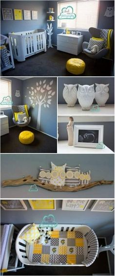 OMG grey and owls! Yellow, grey and white owl themed unisex nursery...could totally make a spare bedroom out of this too