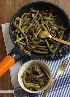 Receta de salteado de judías verdes y champiñones al limón. Receta vegetariana. Con fotos de presentación y del paso a paso y consejos de degustación