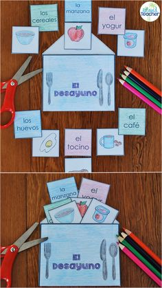 Hands-on resource for practicing Spanish Food Vocabulary: Breakfast. Great for interactive notebooks or partner games.
