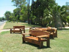 Hardwood Furniture - Slab Tables and Chairs Slab Table, Hardwood Furniture, Garden Seating, Outdoor Furniture Sets, Outdoor Decor, Picnic Table, Table And Chairs, Home Decor, Garden Seats