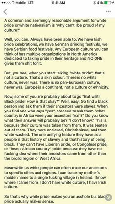 a plain and simple historical explanation of why wanting to celebrate so-called white pride makes someone an offensive idiot