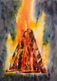 "Bonfire. 11""x15"" (28x38 cm). #brusho"