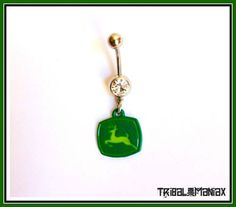 JOHN-DEERE-Style-NAVEL-BELLY-BUTTON-RING-14-Gauge-with-Gem-Dangle-Ring
